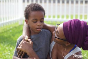 Natural Headwrapped Black Mother and Son