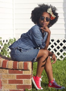 denim shirt, natural hair, naturalist, natural mama